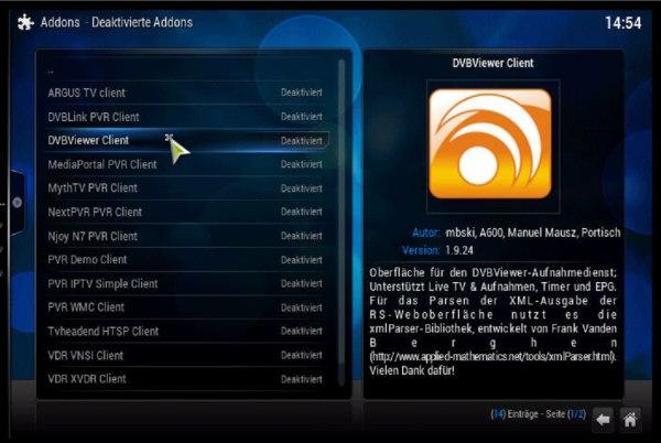 DVBViewer Addon installieren