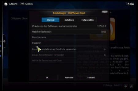 DVBViewer Addon konfigurieren IP