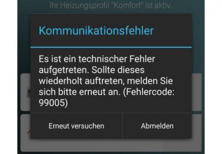 Fehlermeldung Qivicon Smartphone